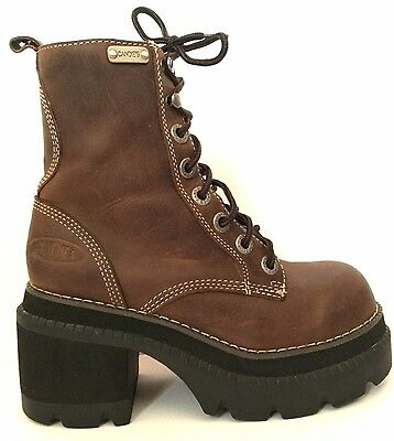 Vtg 90s Candies Brown LEATHER CHUNKY Platform Boots Ankle 6.5 Lace-up Lug Sole