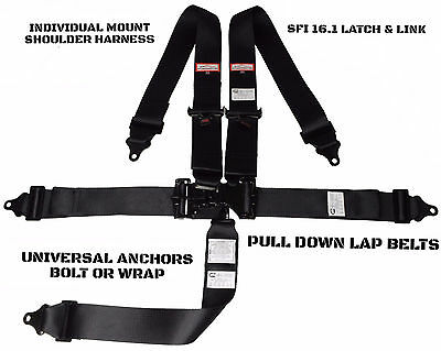 Pro Modified Racing Harness Sfi 16.1 Latch & Link Roll Bar Mount 5 Point Black