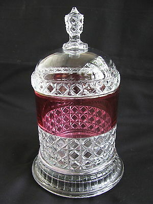 Antique~EAPG~Ripley~Ruby~CRANBERRY~Stain~MASCOTTE~Biscuit~APOTHECARY~JAR~w/ BASE