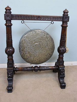 Antique 19Th Century Carved Oak Dinner Gong Victorian Floor Standing Gong