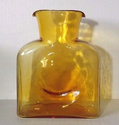 Vintage Blenko 8 in. Amber Glass  Double Spouted  Water Jug