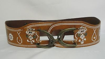 """Linea Pelle Handmade Wide Leather Belt Sz S Tan Brown with White Design 30-32"""""""