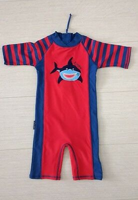Jojo Maman Bebe Swimsuit All In One Uv Protection Shark Age 1-2 12-24 Months