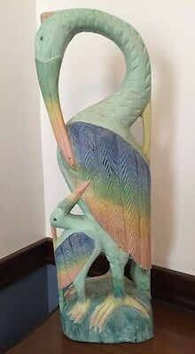 """Carved Wooden Heron and Baby Thailand Pastel Painted 25""""h x 7""""w"""
