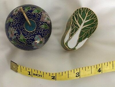 Cloisonne 2 Small Lidded Containers One With Brass Stand