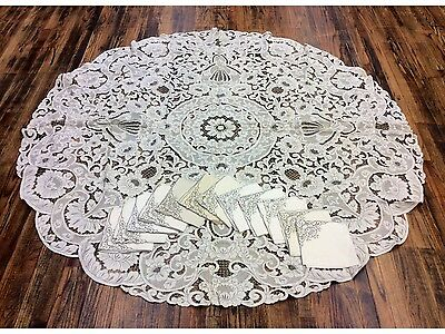 Floral Antique Madeira Embroidered Cutwork Linen Tablecloth, 12 Napkins