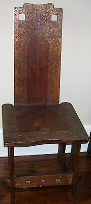 Antique Mission Arts Crafts Carved Walnut Travel Ship Mate's Chair Wooden Pegs