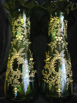 """2 Antique Victorian Hand Blown Green Enameled Ruffled 13 1/2"""" Tall Mantle Vases"""