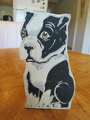 Vintage Wooden Boston Terrier Stand-up Figure Hand Painted *VERY UNIQUE ITEM*