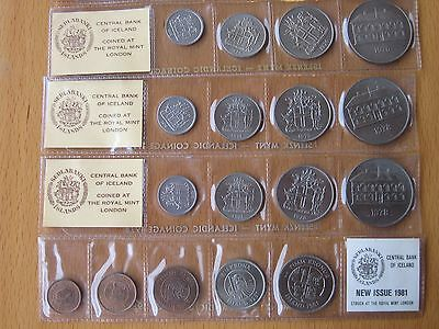 Great Iceland Uncirculated Coin Sets from 1974, 1975, 1976, 1978 (2), and 1981