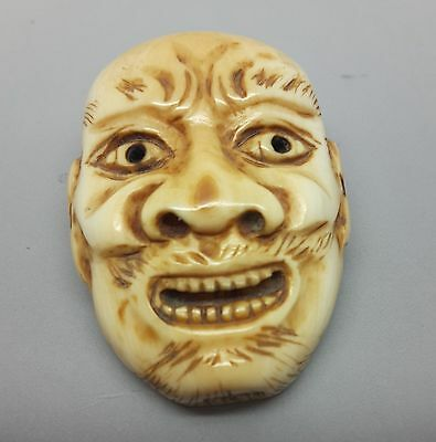 Netsuke of Noh face mask, meiji period, unsigned, amazing detail