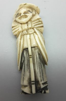 Meiji period Netsuke of a Dutchman with walking stick