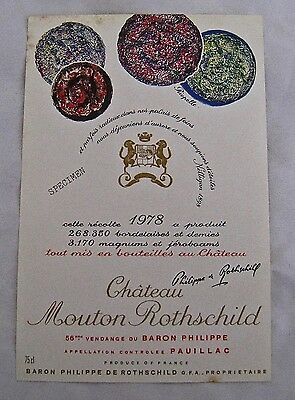 Vintage Wine Label 1978 Chateau Mouton Rothschild Riopelle Pauillac