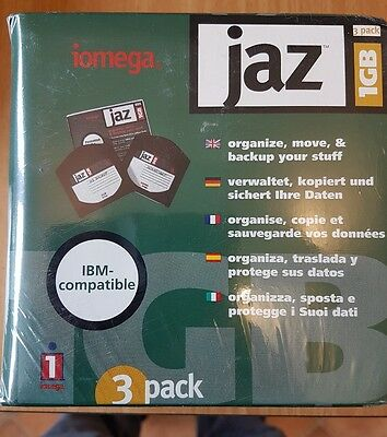 Pack 3 Iomega Jaz Discs. 1Gb Capacity Each. UNUSED Sealed