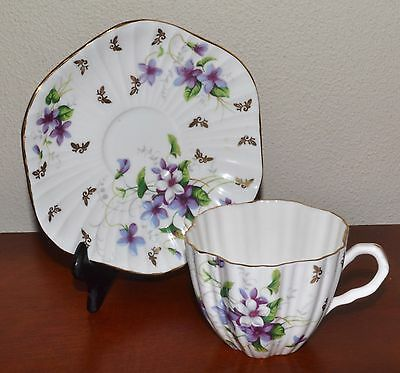 RARE Vintage EB Foley Tea Cup & Saucer, Floral , Bone China, Ribbed Shape 11578