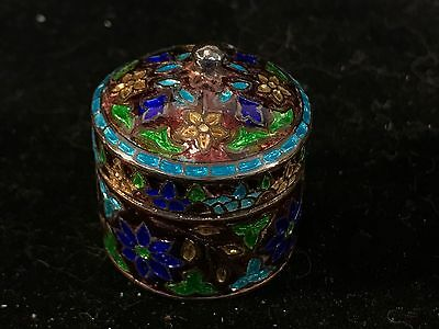 Antique Vintage Trinket Box Sterling Silver Enameled