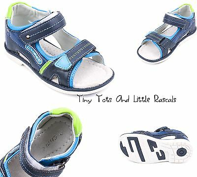 Toddler Boys Kids Summer Sandals Beach Real Leather Shoes Size UK 8.5 - 12.5