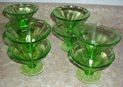Fenton Depression Green Glass Footed Dessert Dishes set of 8 pcs