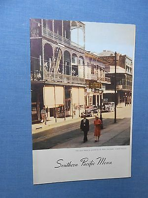 New Orleans SOUTHERN PACIFIC 1947 Railroad MENU Restaurant  china bar Hotel