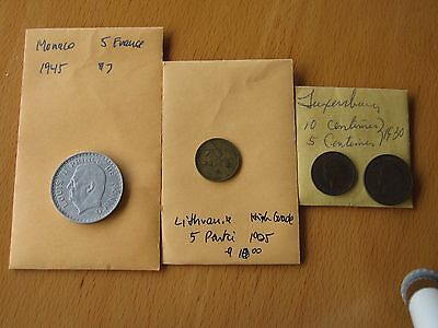 Small Country Lot - Lithuania, Monaco, Luxembourg: Lot of 4 Coins