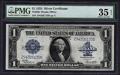 1923 $1 Silver Certificate PMG 35 EPQ One Dollar Bank Note Fr.238 #1601670-023