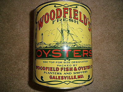 Woodfield's Gallon Oyster Tin Can 1950's Galesville Maryland