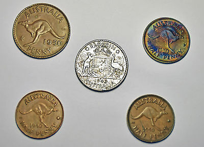 Lot of (5) Australia Coins – (1) Florin, (3) Half Pennies, (1) One Penny