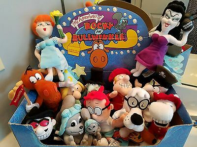 """Adventures Of Rocky & Bullwinkle COMPLETE SET CVS 9"""" Plush Toys Limited Edition"""