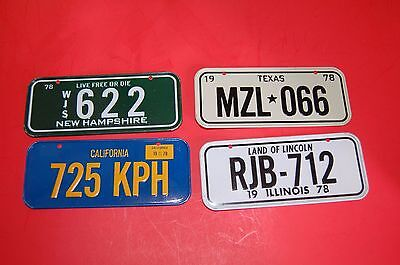 NEW Rare Vintage 1978 Mini Bicycle Bike metal license plate lot x4