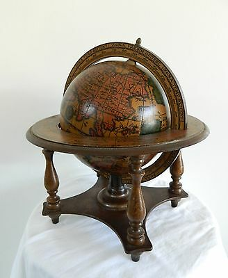"Vtg 1970s, MADE In ITALY, ZODIAC 19.75"" circumf, WORLD GLOBE on WOOD Stand BASE"