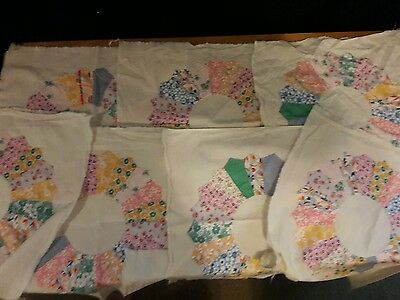 Set of 7 Vintage Handsewn Dresdenplate Soft Pastel Paisely Quilt Blocks 19x19
