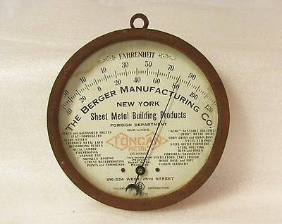 Antique Industrial Metal and Glass Advertising Round Thermometer Large Steampunk
