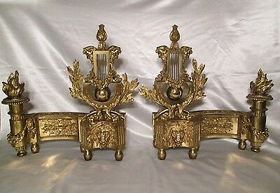 Fine Antique Pair of 19th C. French Bronze Chenets Louis XVI Style Ormolu