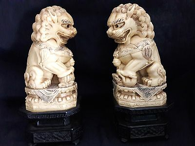 """Heavily Carved Vintage Pair Of Carved Resin Foo Dogs With Stands 9"""" ~Signed"""