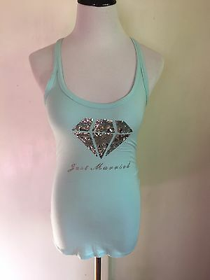 Women's I Do, Victoria's Secret Bridal Just Married Blue Tank Top- Small