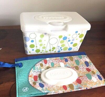 New Huggies Clutch 'n Clean Baby Wipes Contemporary Travel Case & Wipes Box
