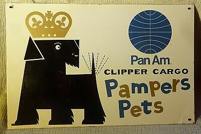 Pan Am Clipper Cargo Pampers Pets Metal Sign Vtg Scottie Airline