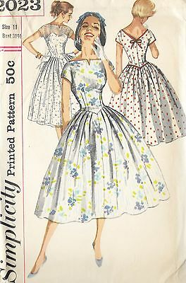 "S2023 Vintage 1950 Sewing Pattern Dress Prom EASY Youth Junior Bust 31.5"" Sz 11"