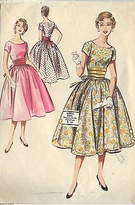"M3612 McCall's 3612 Vintage 1950 Sewing Pattern Dress Prom Formal  Bust 35"" Sz16"