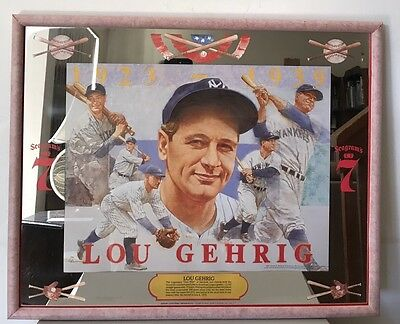 Original 1991 SEAGRAM'S 7 LOU GEHRIG Sports Bar MIRROR 21 x 17. NEVER DISPLAYED