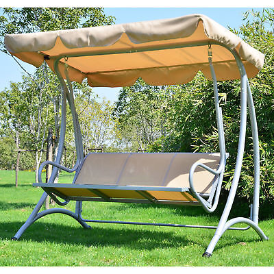 Outsunny Three-Seat Metal Swing Chair Hammock with Canopy Cover Heavy Duty Beige