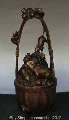 """9"""" Chinese FengShui Copper Zodiac Year 5 Mouse Carry Wealth Statue Barrel Bucket"""