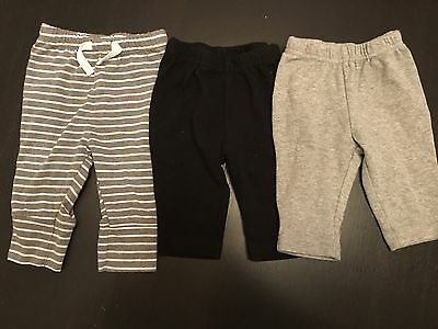 Baby Pants Boy Or Girl Grey And Black Size 3-6 Months Set Of 3