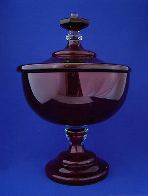 Rare Large Vintage Ruby Flash Red Glass Covered Punch Bowl Tureen Center Moser?
