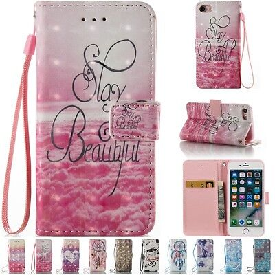 Wallet Flip Magnetic Strap Stand Leather Case Cover For iPhone 5 6 6S 7 Plus SE