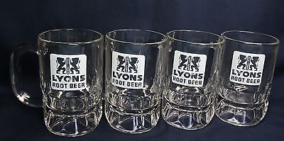 """Set Of 4 Vintage Lyons Root Beer Mugs, Bend Or 5"""" Heavy Thick Glass Mugs"""