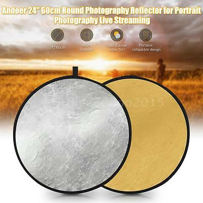 "Andoer 24"" Photography Reflector for Portrait Photography Live Streaming O9L8"