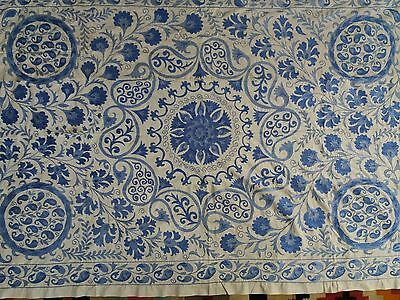 Large Stunning Uzbek Cotton Hand Embroidered Nurata Suzani From A21