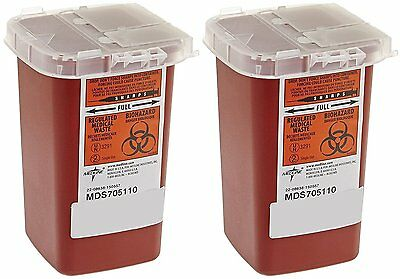 10--Sharps Container Biohazard Needle Disposal - 1 Quart - Pack of 10