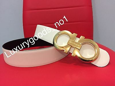 New Authentic Men's White/black Reversible Ferragamo Belt 100cm Waist 34-36